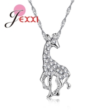 JEXXI Cute Giraffe Design Girls Cubic Zircon Necklace Christmas Gift 925 Sterling Silver Animal Collier Jewelry Pendant   ping
