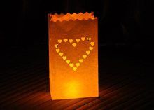 50pcs/lot New  Heart Tea Light Holder Luminaria Paper Lantern Candle Bag For Christmas Party Home Outdoor Wedding Decoration