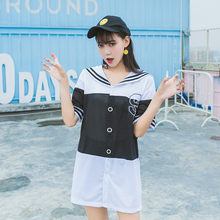 Women dress Sailor Collar Loose Embroidery 185 Si Logo In Black And White Grid Tide Dresses 3066(China)