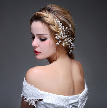2016 Bride Fascinator Beads Crystal Wedding Accessories Elegant Ladies Party Hair Wear Cheap Modest Real Image