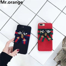 Mr.orange 2017 Luxury Fashion Brand Bee bow phone cases for iphone 6 6s 7plus Tiger Bee Sneak Butterfly Phone Cases Cover