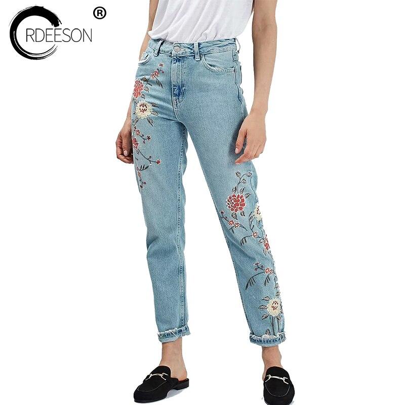ORDEESON Floral Embroidery Jeans Woman High Waist Femme Taille Haute Torn 2017 Distressed Large Size Ankle Calf Length PantsÎäåæäà è àêñåññóàðû<br><br>