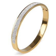 12 Styles 3 Rows Rhinestone Gold Color Stainless Steel Bangle Cuff Love Bangle Bracelet Women Crystal Open Wedding Jewelry