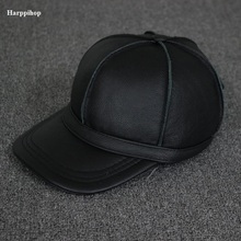 2017 new genuine leather baseball golf/sport cap hat men's winter warm brand new cow skin leather newsboy caps hats