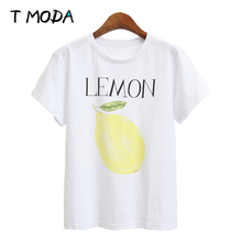 Buy T MODA 2017 New Fashion Women's Green Remon Printed White T Shirt Fruits Printed Casual T-Shirt Girl's Loose Cute Top Plus Tees for $6.90 in AliExpress store