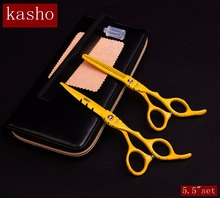 "2016 kasho 5.5""set professional hairdresser's scissors hairdressing scissors hair cutting scissors barber thinning shears sale(China)"