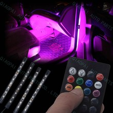 1 set 12V car LED 5050 Atmosphere Lamp One with four bar RGB 7color Pathway Light Chasis Decoration light with remote controller