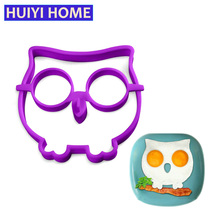 Huiyi Home Creative Kitchen Silicone Omelette Machine Cute Owl Style Fried Egg Mold Cooking Tools Ring Kitchen EKA051(China)
