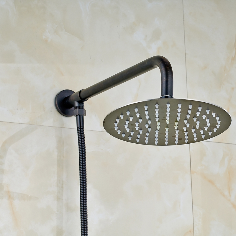 Oil Rubbed Bronze Wall Mount 8 Round Rain Shower Head + Wall Mounted + Hose Stainless Steel<br><br>Aliexpress