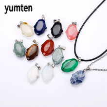 Yumten Natural Stone Flowers Sculpture Pendants Crystal Men Jewelry Women's Charms Necklace Pingente Gargantilha Ruby Perfume