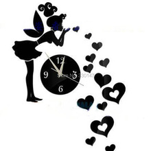 Romantic 3D Wall Clock Mirror Stickers Boutiques Fun Novelty DIY Angel Digital Clock Unique Gift Home Decor 55x41cm(China)