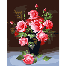 Frameless Still Life Rose Vase Flower DIY Oil Painting By Numbers Kits Drawing Paint Paintings Modern Artwork Pictures