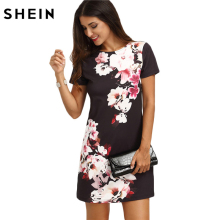 SHEIN 2017 Summer Print Dress Casual Dresses for Women Ladies Multicolor Floral Short Sleeve Round Neck Straight Short Dress(China)