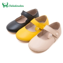 Toddler girls dress shoes yellow black beige infant girl shoes autumn princess party dancing cute little girls shoes leather(China)