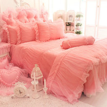 Princess pink rose wed bedding sets,twin full queen king girl cotton single double bedclothes bedspread pillow case quilt cover(China)