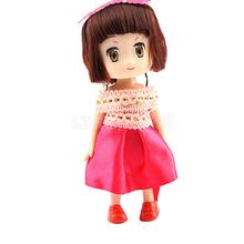 Mini Doll Phone Charm Strap Toy 10cm Short Hair Girl w/ Off Shoulder Dress Pendant DIY Keyring Bag Decor Accessory Gift