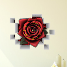 3D Wall Stickers DIY Creative Room Decal Mute Silent Wall Clock Home Wall Art Mural Removable Office Wall Decor Red Rose(China)