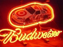 "NEON SIGN For New Budweiser Nascar #41 Racing Car Signboard REAL GLASS BEER BAR PUB display Shop Custom Light Signs 17*14""(China)"