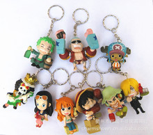 9pcs/set One Piece Zoro Frank Luffy Brook Chopper Robin Nami Sanji Anime Keychain Collectible Action Figure PVC Collection toys(China)