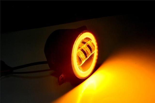 FADUIES 2PCS DOT 4Inch Round Wrangler Led Fog Light 30W 6000K White Halo Ring DRL Off Road Fog Lamps For Jeep Wrangler JK TJ LJ (5)