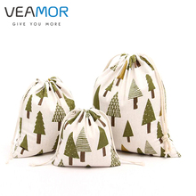 VEAMOR Cotton Cloth Drawstring Candy Gift Bags for Children Christmas Tree Small Jewelry Gift Storage Bags 3pcs/set WB145