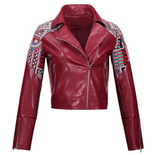 Women Autunm Winter Wine Red Faux Leather Jackets Lady Embroidery Burgundy Lapel Zipper Bohemian PU Coats Lady Shorts Fashion(China)
