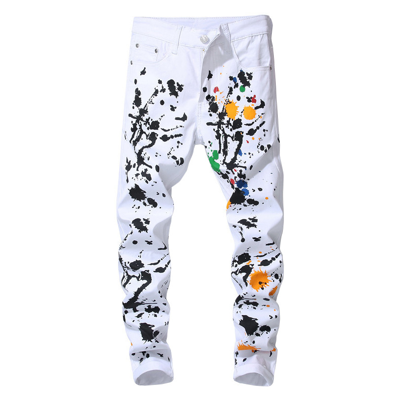 new arrival mens modis slim fit paint splatter skinny jeans homme white streetwear night club stage clothes full length trousers