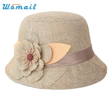 Womail Newly Design 2015 Hot Sales Cheap Nice New Fashion Women Flax Flower Hat Bowler Billycock Cap Drop Shipping