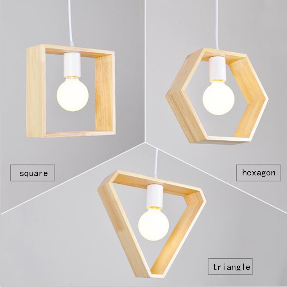 Nordic modern LED pendant lights simple style Solid wood passage restaurant bar counter coffee single head creative personality<br>