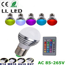 1PCS AC85V-265V E27 E14 GU10 MR16  LED RGB Bulb Candle lamp 6W LED Spot light magic Christmas lighting+Remote Control 16 colors