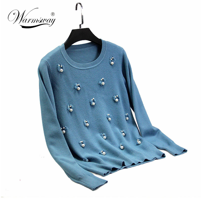 New Autumn Winter Women Casual Sweater Holes Pearl Beaded Luxury Pullover Women Knitted Basic Jumper Female Tops C-164