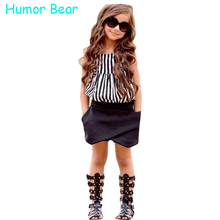Humor Bear New Casual clothes Girls Clothes Sets Baby Girls Summer Fashion Style Set Children Clothing Set