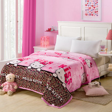 Free Shipping Coral Fleece Blanket Bed Throw Blanket On Bed/Sofa/Travel 120X200Cm Hello Kitty Cartoon Blanket Adult/Kids