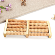 High Quality 5 Rows Wheel Wooden Massager Wood Roller Foot Massager Relax Relief   @ME88