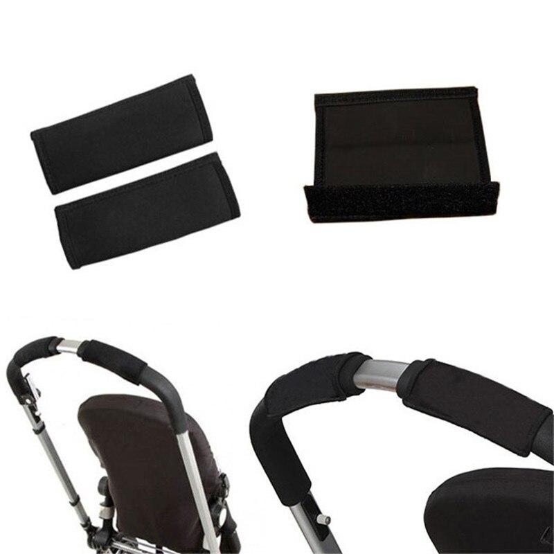 2pcs-Pair-New-Baby-Stroller-Accessories-Carriage-Front-Handle-Pram-Black-Neoprene-Magic-Tape-Bumper-Bar