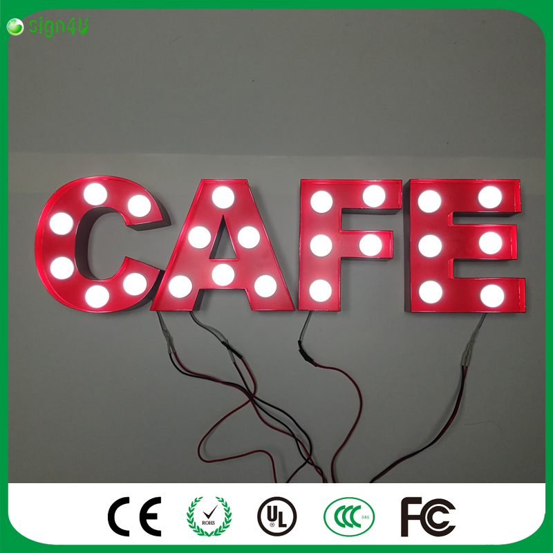 RED metal Letters light LED alphabet Marquee Sign  Indoor wall Decoration customize order as cafe<br><br>Aliexpress