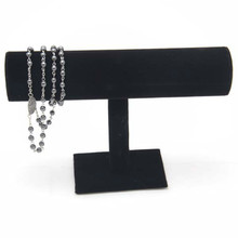1pcs 23cm High Quality Vintage Black Velvet Bracelet Chain Watch T-Bar Rack Jewelry Organizer Hard Display Stand Holder(China)