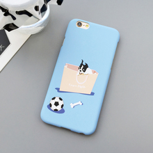 LACK Lovely Cartoon Dogs High Quality Phone Cases for iPhone 5S 5 Fundas French Bulldog football and bone frosted phone bags(China)