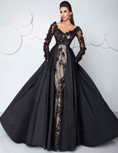 Arabic Sexy Black Evening Dresses with Pocket Illusion Lace Long Sleeves Formal Gowns China Shopping Online Vestidos De Festa