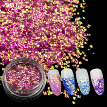 SWEET TREND 1 Bottle Nail Mermaid Sequins Stickers Sparkly 3D Colorful Glitter Tip Chameleon Nail Art Decoration Tools LAND297