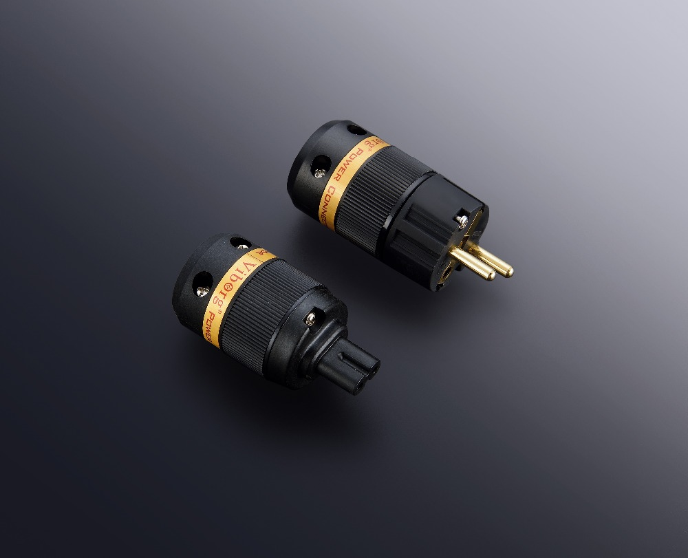 1Pair Viborg Audio pure copper24K gold plated  Figure 8 IEC connector Schuko power plug  extension adapter<br>