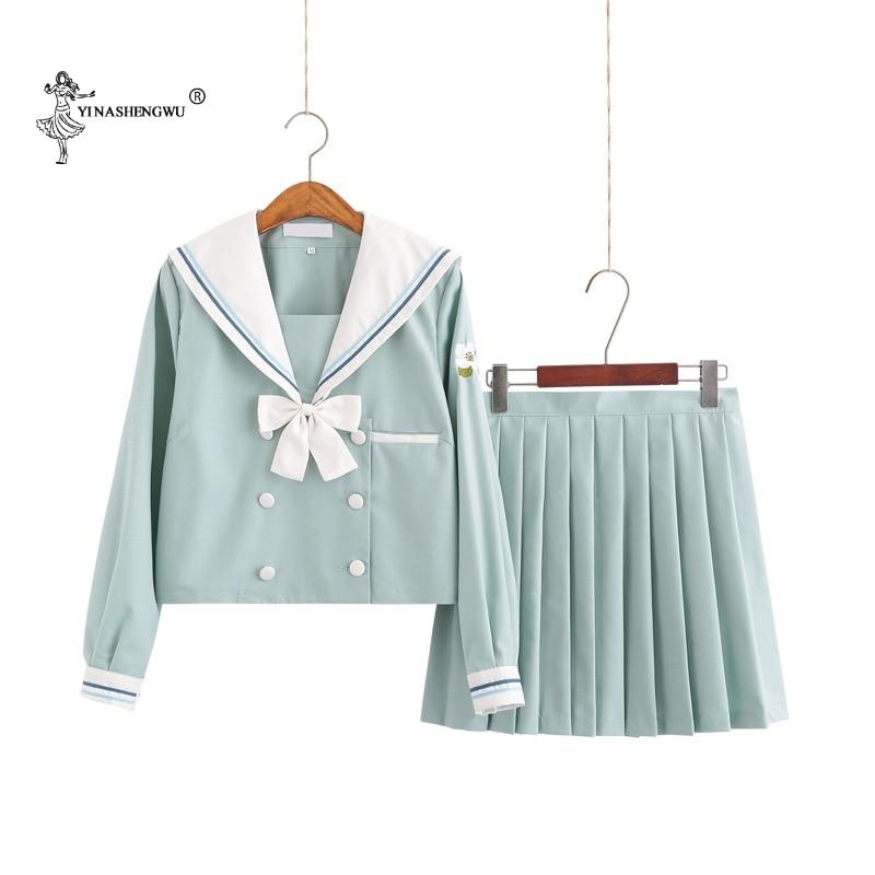 JK Uniforms Middle School Students Japanese Sailor Suit School Uniform Cosplay Student Jk Academy Students Mint Green Skirt Suit