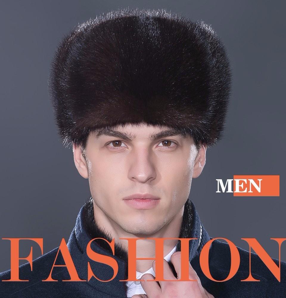 LTGFUR Bomber Men's Hats Warm Mink Fur Hat Bomber Ushanka Aviator Snow Caps With Ear Flaps Russian Cap For Men NZD-01 7