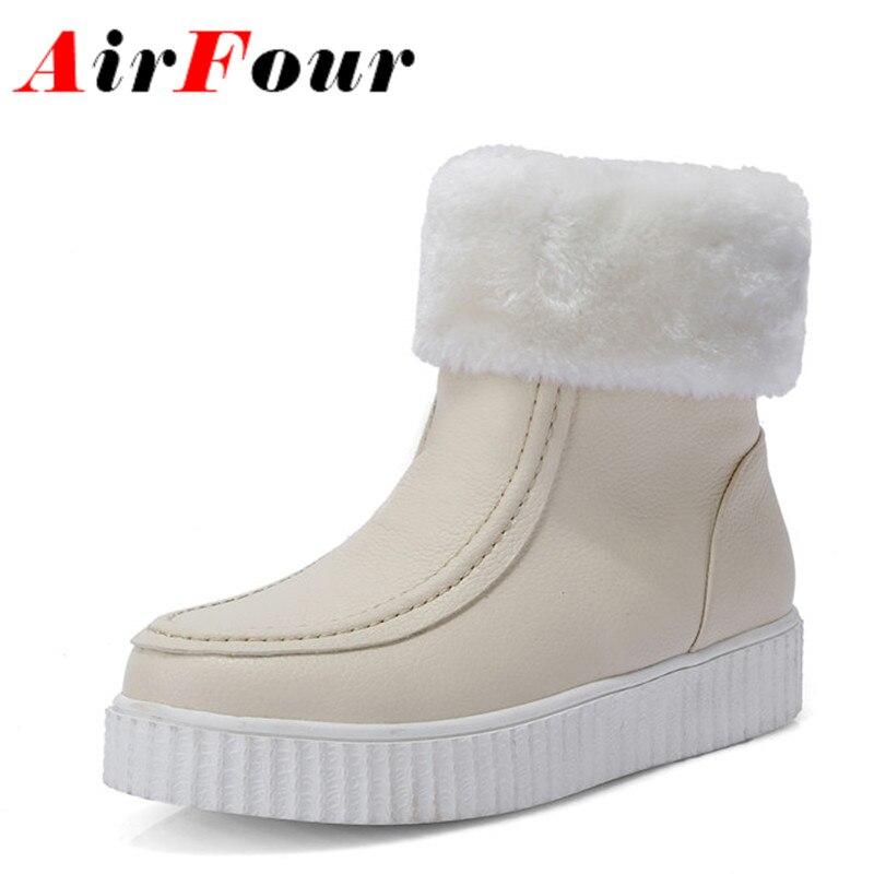 Airfour 2 Colors White Shoes Ankle Boots for Women Winter Boots Shoes Woman Big Size 34-43 Platform Shoes Flats Warm Snow Boots<br><br>Aliexpress