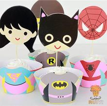 12set Girls Superhero wonder Woman IronMan Spider man superman batman cupcake wrappers toppers cases kid's party favors
