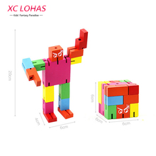 3D Robot Transformer Puzzle Magic Cube Creative Phone Holder DIY Wooden Puzzle Adult Puzzle Cool Toy Boy Birthday Gifts(China)