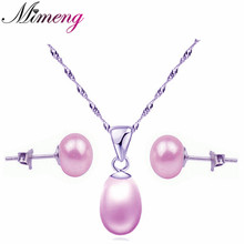 100% Freshwater Pearl + Sterling Silver 925 Jewelry Sets Purple Pearl Solid Silver Free Shipping