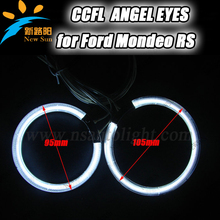 4pcs ccfl ring for Mondeo RS CCFL angel eyes ring 105mm& 95mm full circle halo ring bulbs 9-16V DC car head lamp for Ford