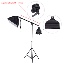 DHL Freeshipping Photography Bracket Aluminum alloy Photo Studio Overhead Boom Arm Top Light Stand 75-138cm for Softbox Light