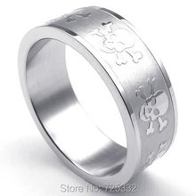 Fashion Jewelry 8mm Stainless Steel Band Gothic Skull Band Biker Mens Ring, Color Silver US Size 7 to 13 Drop Free Shipping(China)